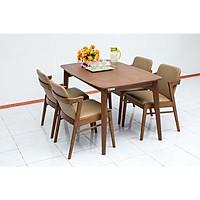 Bộ bàn ăn gỗ óc chó Nội Thất Nhà Bên Nan 25 (Nâu)