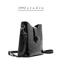 Túi xách nữ 1992 s t u d i o / MORGAN BAG / Màu đen da bóng xích phụ kiện kèm dây đeo chéo