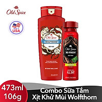 Combo Sữa Tắm+ Xịt Khử Mùi Old Spice Wolfthorn (Body Wash 473ml+  Body spray - 106g)