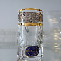 Bộ 6 ly uống rượu mạnh pha lê cường lực mạ vàng platin 24k 070ml Tiệp Khắc