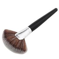 Pro Fan Shape Blending Highlighter Makeup Brush Face Powder Foundation Blush Contour Wooden Handle Cosmetic Tool