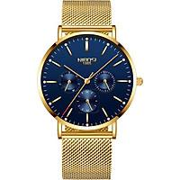Đồng hồ thời trang công sở nam NIBOSI chính hãng NI2321-1.01 fullbox, chống nước - Chạy full 6 kim, mặt kính Mineral, dây thép lưới cao cấp không gỉ