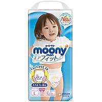 Bỉm - Tã quần Moony Blue size L Girl 44 miếng (Cho bé 9~14kg)
