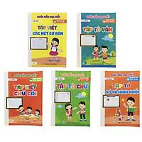 Bộ 5 cuốn Bước đầu học viết (tập tô vần, tập tô số và hình khối, tập viết các nét cơ bản, tập viết chữ cái, tập tô chữ)