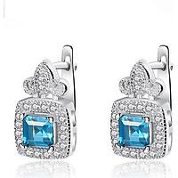 Bông tai Bạc thật nữ trơn đính đá cao cấp bằng bạc ý 925 tự nhiên cao cấp B2399 Bảo Ngọc Jewelry
