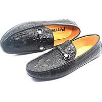 Giày Lười Nam Da Bò Thật Nguyên Tấm Dập Vân Cá Sấu Họa Tiết Pettino PL08