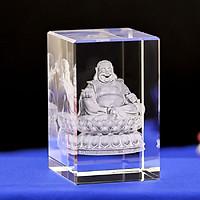 Tượng Phật Di Lặc 8 CM pha lê khắc 3D sang trọng không kèm đế đèn tự bạn thiết kế