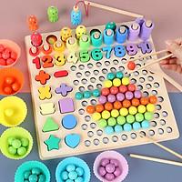 Đồ chơi giáo dục gỗ gắp hạt, học đếm số cho bé, đồ chơi montessori