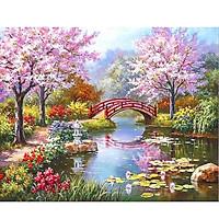 Tranh sơn dầu số hoá tự vẽ có khung đã căn 40x50 cm - Cầu hoa