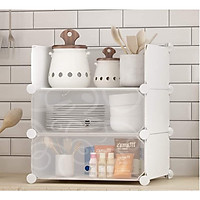 Tủ nhựa lắp ghép để đồ dùng nhà bếp không thấm nước kèm móc treo