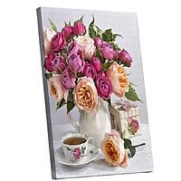 Tranh sơn dầu số hóa tự tô đã căn khung 40x50cm- RSB8171 lọ hồng bên tách trà