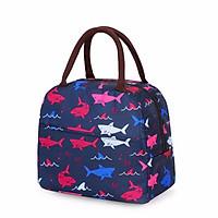 Túi đựng cơm lót giấy nhôm giữ nhiệt Cao Cấp 2 ngăn (size 21x11x19 cm) - Cá Mập - Tặng kèm 01tệp  giấy nhớ