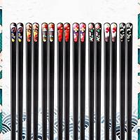 Bộ 8 Đôi Đũa Thủy Tinh Đầu Đũa Vạt Xéo Trang Trí Họa Tiết Nhật Bản