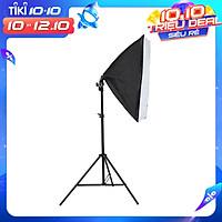 Bộ đèn studio chụp ảnh sản phẩm, quay phim, livestream chuyên nghiệp, bộ gồm chân đèn 2m kèm softbox 50x70cm, tay treo 138 cm.