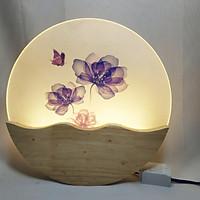 Đèn trang trí gắn tường phòng ngủ, phòng khách LED hình hoa lan tím ba màu ánh sáng