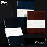 Nusign Random Color A5 Soft Leather Notebook 160 Pages Ivory White Paper Note Book Office Business Diary Book Student Hand Book Thicken Inner Page Conference Book With Bookmark Ribbon School Stationery Supplies