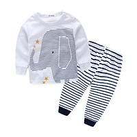 Spring Autumn Casual Newborn Set Baby Cartoon Printing Long Sleeve Top And Striped Trousers Kids Two-piece Outfit Set