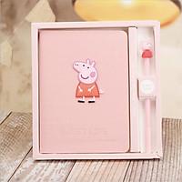 Hộp quà sổ kế hoạch tặng kèm bút bìa giả gỗ Peppa Pig 19x20x2cm - Hồng