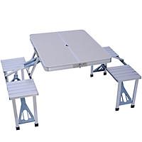 Bàn 4 ghế xếp nhôm liền dã ngoại - bàn ghế làm việc đa năng