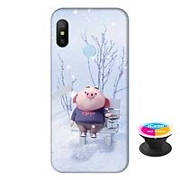 Ốp lưng nhựa dẻo dành cho Xiaomi Redmi 6 Pro in hình Heo Con Nghịch Tuyết - Tặng Popsocket in logo iCase - Hàng Chính Hãng