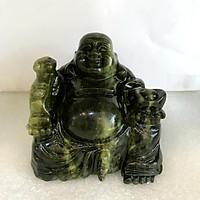 Phật để xe hơi Phật Di Lặc ngọc Việt Nam đá tự nhiên hoàn toàn ngọc serpentine xanh lá cây đậm cho người mệnh Hỏa và Mộc nặng 1.2kg cao 12 cm