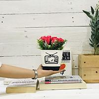 Chậu hoa giả trang trí bàn làm việc Tulip đỏ mix hoa điểm trắng