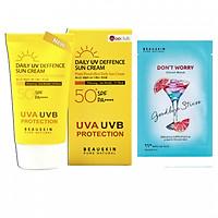 Combo Kem chống nắng kiểm soát dầu DAILY UV DEFENSE SUN CREAM và Mặt nạ giảm stress Don't worry