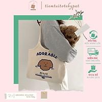 Túi đeo vai in hình chú chó ADORABLE có nút bấm và túi trong TP10 | tiemtuitotebypat