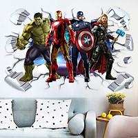 Decal dán tường 3D siêu anh hùng - biệt đội báo thù DKN154 (60 x 90 cm)