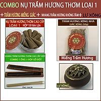 Trầm Hương Thơm Cao Cấp ( ComBo Nụ, Nhang không tăm, Miếng Trầm Hương + Lư Xông)