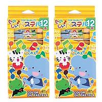 Bộ 2 hộp sáp dầu 18 màu dành cho bé mới tập vẽ - Hàng nội địa Nhật
