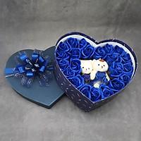 Quà tặng sinh nhật, 8/3 cho bạn gái - hoa hồng sáp hộp tim 2 gấu, màu xanh - H15X
