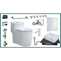 Combo thiết bị vệ sinh nhà tắm đầy đủ tiện nghi TKGRZC02 13 món gồm bồn cầu 1 khối, lavabo siêu đẹp