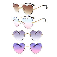 4pcs Fashion Style Heart-shaped Sunglasses Party Tinted Lens Eyewear Anti UV