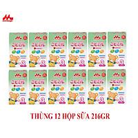 Thùng 12 hộp Sữa Morinaga Số 3 Kodomil 216g Cho Bé Từ 3 Tuổi hương dâu, hương Vani ( không tem đổi quà)