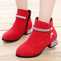 Giày boot bé gái cao gót phong cách Hàn Quốc cao 3cm phối màu độc đáo GC52