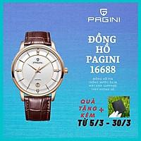Đồng hồ nam PAGINI PA16688 cao cấp dây da thật mặt tròn – Thiết kế sang trọng, lịch lãm, thời thượng và sang trọng