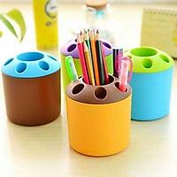 Ống cắm bút nhựa sắc màu.