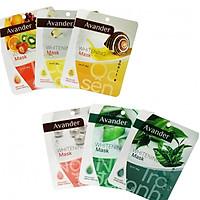 Combo 6 gói Mặt na giấy Avander 25g ( Trà Xanh, Ngọc Trai, Nha đam, Trái cây, Ốc sên, collagen)