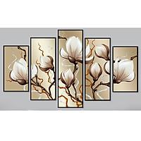 Bộ 5 tranh treo tường bằng vải canvas, chống ẩm mốc, không bám bụi, kèm khung tranh trang trí treo phòng khách đẹp, AT826