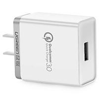 Bộ sạc nhanh 18W  Quick Charge 3.0 Sạc Nhanh màu trắng UGREEN 40711CD122 Hàng chính hãng