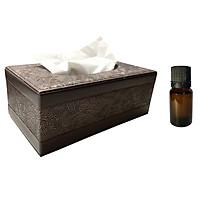 Hộp đựng giấy ăn da PU họa tiết tân cổ điển cao cấp - Tặng 1 lọ tinh dầu oải hương 10ml