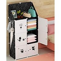 Tủ nhựa ghép 6 ngăn và 2 ngăn xéo - Đen cửa mèo đen, tặng móc treo hông tủ