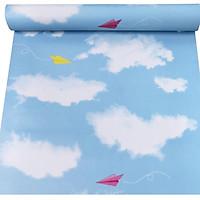 Cuộn 5m giấy dán tường mây xanh có keo sẵn khổ rộng 45cm, giấy decal dán tường màu xanh da trời