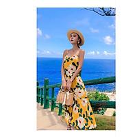 Váy 2 dây maxi hoa vàng đuôi cá mềm mại