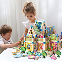 Bộ lắp ghép mô hình nhà gỗ 3D đồ chơi thông minh cho bé 268 chi tiết