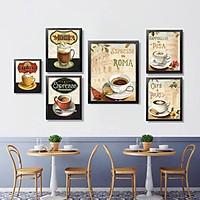 Bộ khung ảnh treo tường composite Cà phê 5 tặng đinh 3 chân  KA237