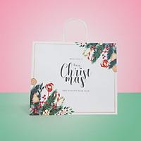 Túi giấy Kraft Trắng Noel Xmas- Size 36 x 30.5 x 12cm [COMBO 10 cái] Mã XMAS05T