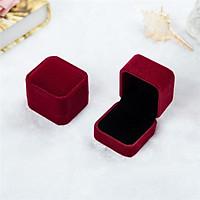 Hộp đựng trang sức nhẫn, bông tai vải nhung, hộp đựng trang sức vải nhung sang trọng - Màu đỏ đô