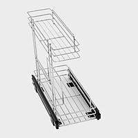 Phụ kiện tủ bếp, ngăn kéo Inox SUS304 cho tủ bếp dưới 2 tầng S003K